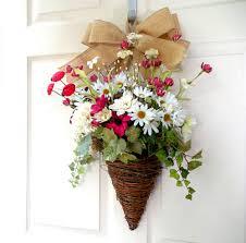 front door wreathUsing Flower Baskets for a Front Door Wreath