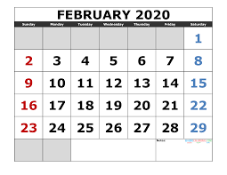February 2020 Calendar Template Printable February 2020 Printable Calendar Template Excel Pdf Image