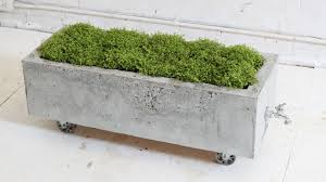 Planters, Large Concrete Planter Boxes Planters At Home Rectangle With  Whell With Grass: astonishing