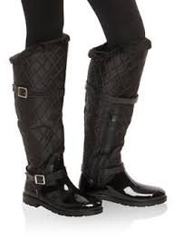 Womens Boots | Rainbow & Faux Fur Lined Quilted Rain Boots - 1115014067871 Adamdwight.com