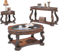 End Table And Coffee Table Set Coaster Doyle Traditional Oval Cocktail Table With Glass Inlay Top