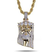 Certified steppa 3 tone baguette vvs cz hip hop iced out pendant. Jesus Pendant Full Stone Gold Finish Fully Iced Out Cuban Link Chain Necklace Fashion Jewelry Demuejewelrystudio Necklace Pendant Watch