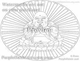 Lachende Boeddha Afdrukbare Kleurplaat Gelukkig In Een Lotus Etsy
