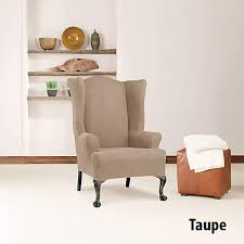 sure fit simple stretch twill wing chair slipcover chocolate sf44472