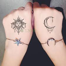 Waterproof Temporary Tattoo Sticker Sun Moon Fake Tatto Flash Tatoo Tatouage Wrist Foot Hand Arm For Girl Women Men Kids