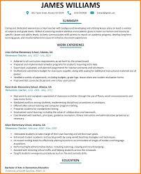 Teacher Resume Objective Sample Elementary School Teacherume Teaching Word Math Image From