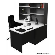 corner office desk hutch. Sale Corner Office Desk Workstation With Hutch - White \u0026 Ironstone