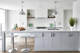extra long gray kitchen peninsula with sink