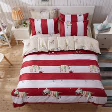 red white stripe cute horse printing cartoon kid children bedding duvet cover sets 4pc twin full queen double size