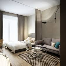 Apartment:Outstanding Small Studio Apartment Designs With White Bed Cover  And Pattern Rug Under Square