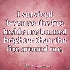 Fire Quotes Cool I Survived Because The Fire Inside Me Burned Brighter Than The Fire