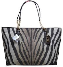 Coach Brown Multi Jacquard Tote in Light Brown Zebra Print ...