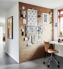 office feature wall. Cork Feature Wall In Home Office With Concrete Floor