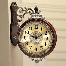 double sided wall clock in stan hanging living room metal wooden p 2 sided clock double wall