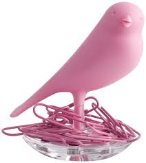 Magnetic Paperclip Holder Amazon Com Qualy Nest Sparrow 60x65x80 Pink Home Kitchen