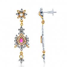 delightful oxidize plated cz studded chandelier earrings