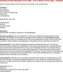 Cover Letter For Assistant Property Manager Position Coursework ...