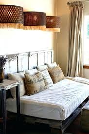 burlap headboard home design ideas bedroom pallet wood day bed with old door plus vine decor
