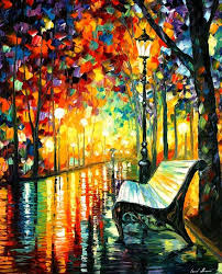 The recreation is 100% hand painted by Leonid Afremov using oil paint,  canvas and