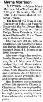 Myrna M Quinn Morrison died Saturday Oct 15, 1994 - Newspapers.com