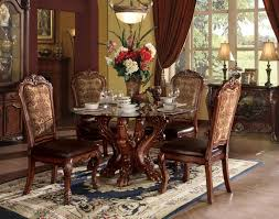 acme 60010 12 5 pc dresden cherry oak finish wood 54 round glass top dining table set