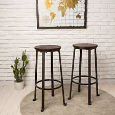 image is loading glitzhome rustic steel bar stools round wood top