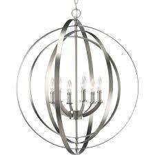 progress lighting equinox 6 light burnished silver orb pendant