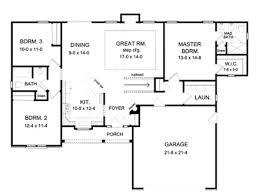 Drive Under Garage House Plans Basement Under Garage  one story    Ranch House Plans   Open Floor Plan Ranch House Plans   Open Floor Plan