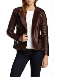 vince camuto quilted asymmetrical zip leather moto jacket burdy m