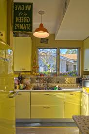 Bright Colored Cabinet Kitchen Eclectic With Linoleum Counter Title 24  Pendant Lights