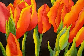 watercolor project step by step red tulips with black background