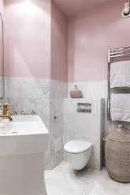 pink bathroom with fake carrara marble