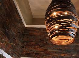 wood pendant lighting. Wooden Pendant Light With Split Stone Modern-living-room Wood Lighting