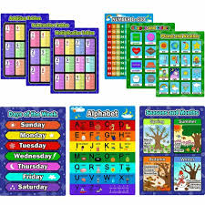 Preschool Wall Charts 9 Pcs Educational Preschool Posters Learning Poster Kit For Toddlers Charts