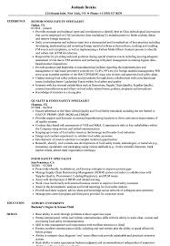 Food Safety Specialist Sample Resume Food Safety Specialist Resume Samples Velvet Jobs 1
