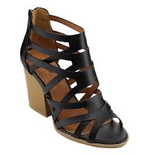 qupid fc31 women s strappy caged gladiator block chunky heel sandals com