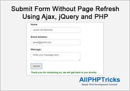 Submit Form Submit Form Without Page Refresh Using Ajax Jquery And Php