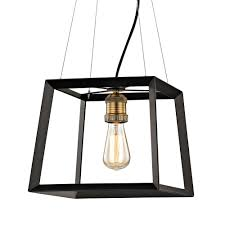 fifth and main lighting austin 1 light black frame square pendant with antique brass socket