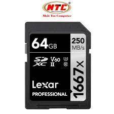 Thẻ nhớ SDXC Lexar Professional 64GB 1667x UHS-II U3 V60 Read 250MB/s /  Write 80MB/s (Đen)