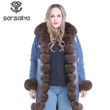 SARSALLYA Women <b>Winter</b> Warm <b>Real Fox Fur</b> Collar Denim ...