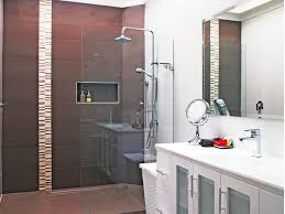 bathroom upgrade. A Renovated Bathroom With Brown Tiles And White Cabinetry Upgrade