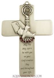 5 pewter confirmation message cross with red stones catholic confirmationcatholic giftsholy