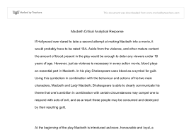 macbeth critical response essay international baccalaureate  document image preview