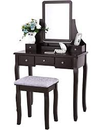 bewishome vanity set with mirror cushioned stool dressing table vanity makeup table 5 drawers 2