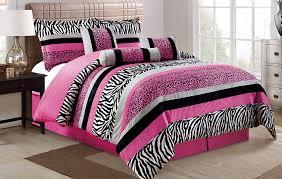 piece oversize hot pink black white zebra leopard queen size sheets micro fur comforter set bedding
