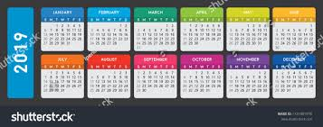 2019 Calendar Horizontal 2019 Calendar Horizontal Calendar Template On Stock Vector Royalty