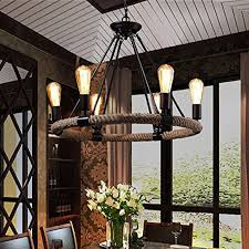industrial farmhouse rustic rope chandelier light edison restaurant ceiling lamp