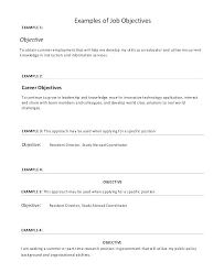 Example Of A Objective For A Resumes Sample Job Objectives Resume Cocinacolibri Com