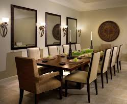 brushed copper wall mirror frame featuring white stain wall and brushed copper wall lamp plus varnished wood dining table together with beige fabric chair