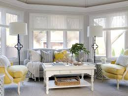 gray and yellow furniture. Yellow And Gray Sunroom With Suzanne Kasler Quatrefoil Floor Lamps Furniture L